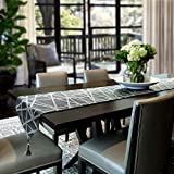 """Artbisons Table Runner Gray Handmade Thickly Table Linens, Gray, 120x13"""""""