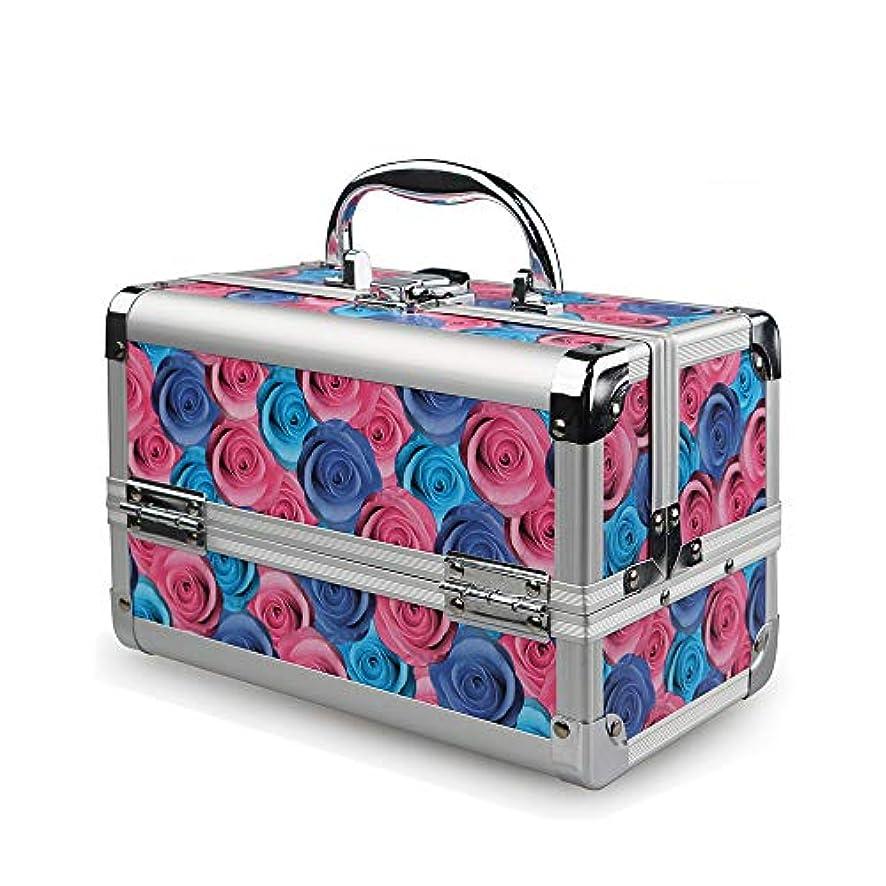 肥沃なカートン起業家化粧オーガナイザーバッグ ローズプリンセスバニティケース化粧品は、ビューティーネイルジュエリーボックス旅行キャリーギフトポータブルストレージケースを作る 化粧品ケース