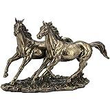 11 Inch Cold Cast Bronze Color Sprinting Horses Figurine Statue Decor