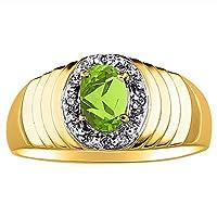 ダイヤモンド&ペリドットリング14K黄色または14Kホワイトゴールド