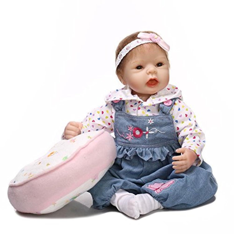 シリコンリアルな幼児用ガールRebornベビー人形with枕、22インチCute Kids House Playおもちゃ