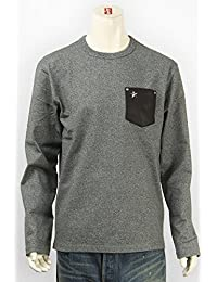 (ショット) Schott 長袖 鹿革 ポケットTシャツ ワンスタースタッズ 杢グレー 3143092-14