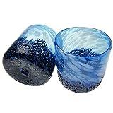 琉球ガラス/コバルトロックグラス 2個箱入