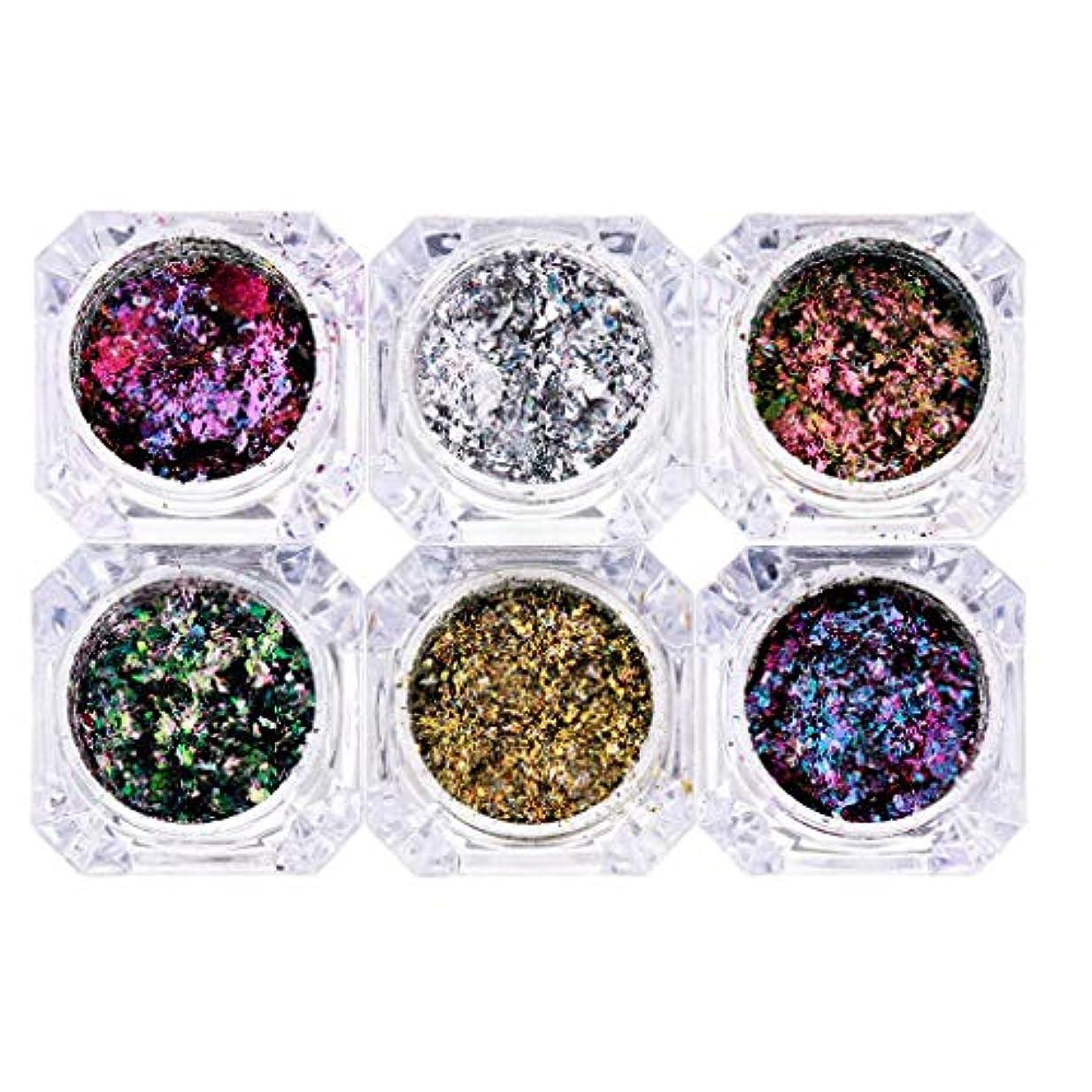 時計危機ピクニックB Blesiya 混合色 ネイルアート装飾 化粧品 キラキラ スパンコール メイクアップ 飾り 6個