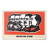 中国 毛沢東・スターリン・レーニン・エンゲルス・マルクスのブリキ看板 20cm×30cm