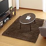 ラグマット カーペット 絨毯 じゅうたん シャギーラグ ラグマット 洗濯可能 〔100×140cm〕 ブラウン