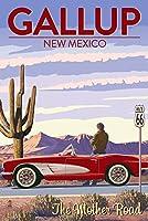 ギャラップ、新しいメキシコ–ルート66–コルベット 16 x 24 Signed Art Print LANT-78771-709