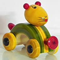 DollsofIndia木製マウス車( Chennapatna Toy ) – 3 x 5 x 2インチ( hq99 )