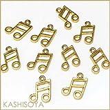 チャーム/十六分音符 12mm×16mm「ライトゴールド」3個入り(音符チャーム,楽譜チャーム,音楽チャーム,ミュージックチャーム,楽器チャーム) [並行輸入品]