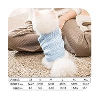 犬の服春と秋の新しいペットのセーターパンダの衣装の中小犬のニット薄いセクションよりもテディ-レイクブルー無地セーター-XXLバック長さ45首周り36バスト55