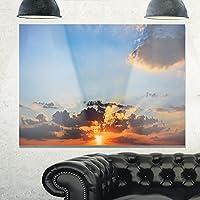 """デザインアートmt10862–20–12美しい曇りサンセットパノラマExtra Largeシースケープメタル壁アート 20x12"""" ブルー MT10862-20-12"""