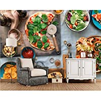 Wuyyii ピザナッツまな板食品写真3D壁紙、リビングルームキッチンレストランファーストフードショップ紙家の装飾-120X100Cm