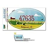 47635 ロックポート, に - ファーム農村 - 楕円形郵便番号ステッカー