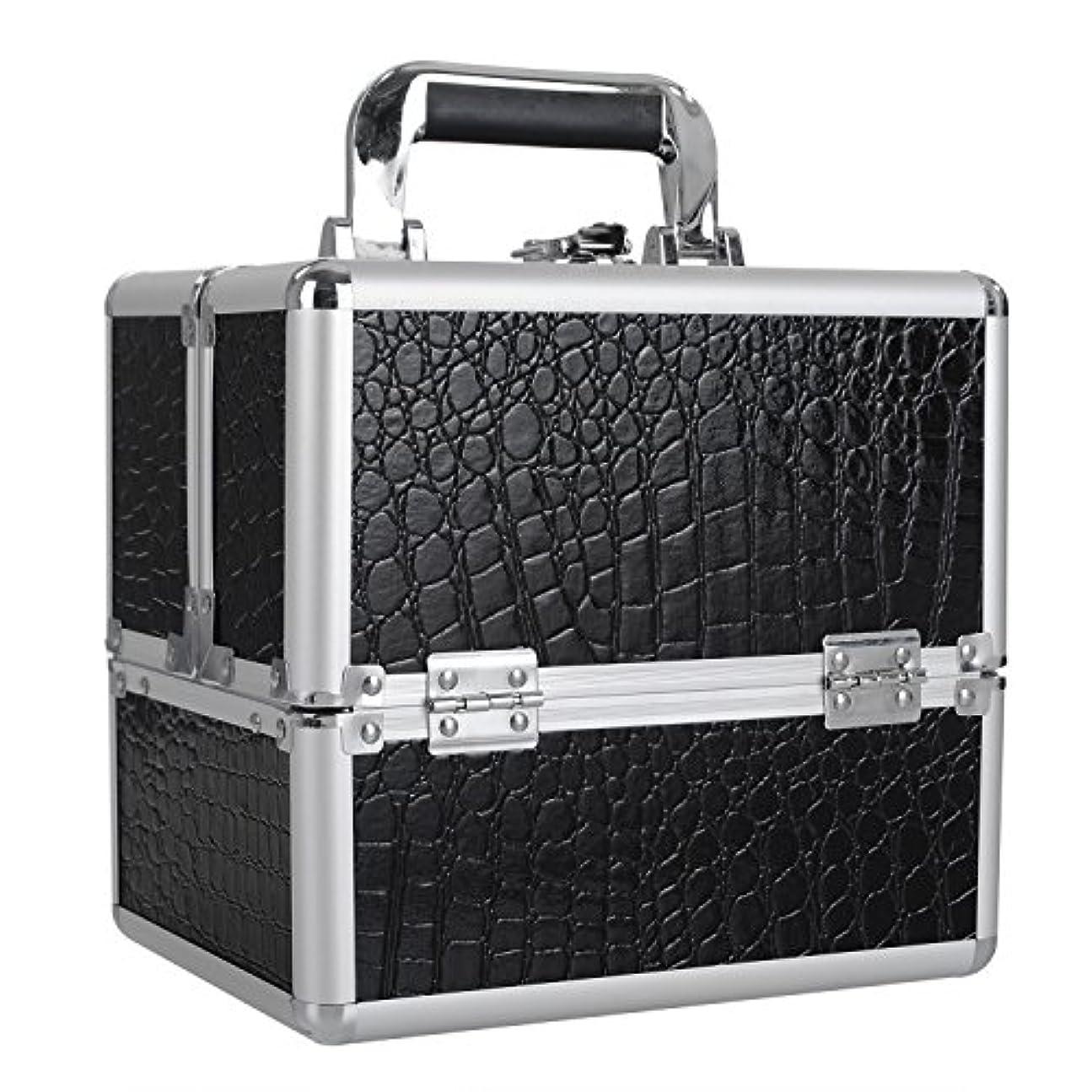 クッション輝度キロメートル[プロ仕様]Hapilife メイクボックス 大容量 4つトレイ 可動仕切り付き 幅25cm 中型 ネイルグッズ 化粧品 メイク道具 収納ボックス ブラック