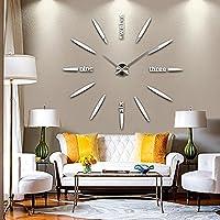 掛け時計 ウォールクロック 手作り DIY 壁時計 セパレートクロック おしゃれ時計 ウォールステッカー  インテリア シンプル 壁掛け時計 北欧スタイル ブラック/ゴールド/シルバー 3色を選ぶ (シルバー)