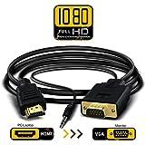 HDMI to VGA 変換ケーブル  オス-オス  音声出力付き 3D映像 1.8メートル