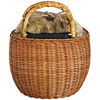 The Bagmati(バグマティ) バンブーハンドル ウィッカー×フェイクファー丸型カゴバッグ