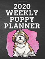 """2020 WEEKLY PUPPY PLANNER: 8.5""""x 11"""" 115 Page Lhasa Apso Dog Lover Gift with Pink on Black Back Academic Year At A Glance Planner Calendar With To-Do List and Organizer And Vertical Dated Pages Great for Lhasa Apso Pup Fans (Lhasa Apso  2020 Planners)"""