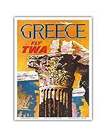 ギリシャ - TWA (トランス・ワールド航空)で飛ぶ - コリント式スタイルギリシャコラム - ビンテージな航空会社のポスター によって作成された デイヴィッド・クライン c.1959 - アートポスター - 23cm x 31cm