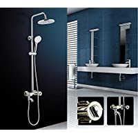 YYF-SHOWER シャワーセット、 ステンレス鋼 真鍮の蛇口、 ヨーロッパの創造性 壁掛け式 一定温度 スプレーラウンドのトップ ハンドシャワー 冷たいお湯 3ホールマウント 1.5mホース (色 : シルバー しるば゜)
