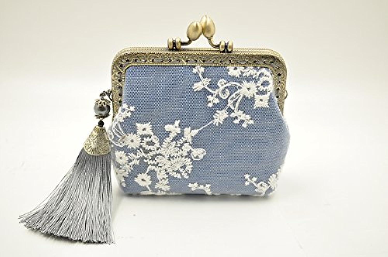 Relax -Breath アンティークがま口 手作り小銭入れ 財布 アクセサリー入れ 刺繍花 レース タッセル付き ブルー