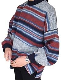 [Nana_Collection(ナナコレクション)] 冬 女性 マルチボーダー 丸首 セーター ドロップショルダー 横縞