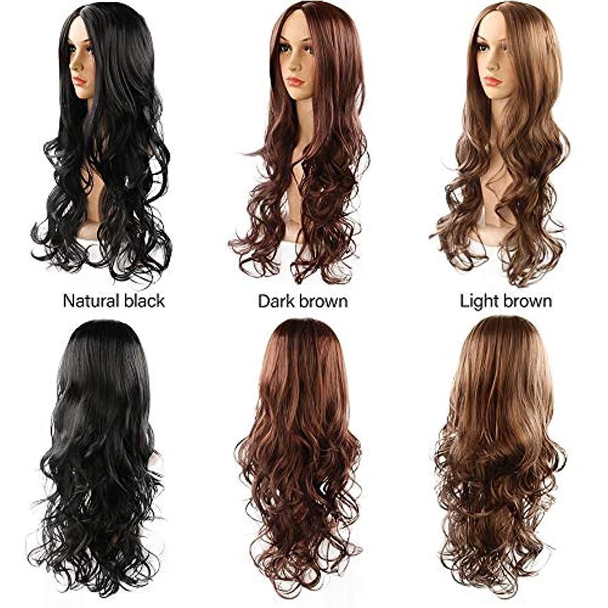 女性の長い巻き毛の波状髪かつらフリンジ26インチ魅力的な人工毛交換かつらハロウィンコスプレ衣装アニメパーティーかつら(ウィッグキャップ) (Color : Light brown)