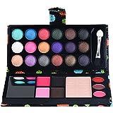 YOKINO メイクセット アイメイク メイクアップ お買得 4点セット組み合わせ 26色アイシャドウパレット 2色眉パウダー 18色アイシャドー 3リップグロス 鏡 化粧用ブラシ (ピンク)