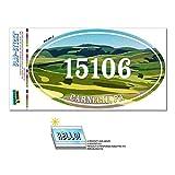 15106 カーネギー, PA - 緑緩やかに起伏している丘陵 - 楕円形郵便番号ステッカー