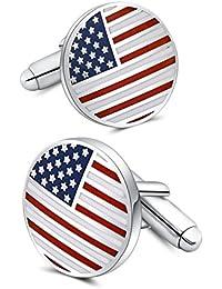 Mr。Van American Flag CufflinksプラチナメッキエナメルUSA国旗カフスリンクメンズアクセサリーギフト