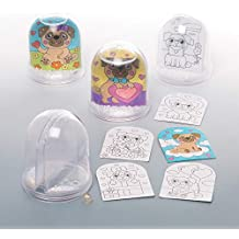 Baker Ross Pugs Colour-in Snow Globes (Box of 4) for Kids to Make and Decorate