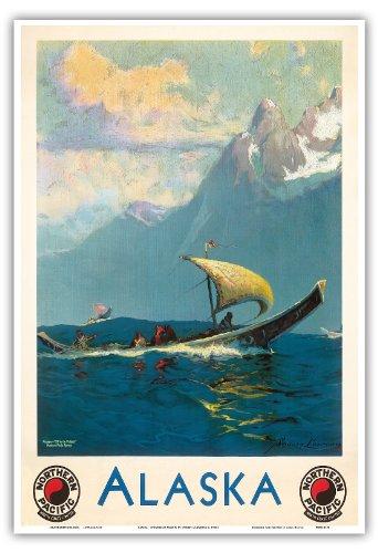 アラスカ、アメリカ合衆国 - ノーザン・パシフィック鉄道 - アラスカ人のポトラッチへの出発 - ウミアクボートに乗るネイティブエスキモーイヌイット - ビンテージな鉄道旅行のポスター によって作成された シドニー・ローレンス c. 1930s - アートポスター - 33cm x 48cm
