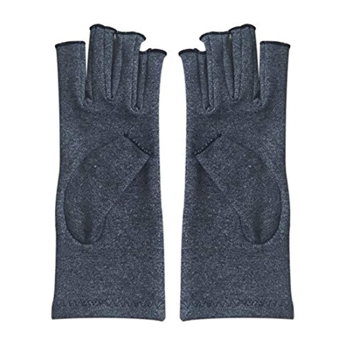 ウガンダ健全私達Gaoominy 1ペア成人男性女性用弾性コットンコンプレッション手袋手関節炎関節痛鎮痛軽減M - 灰色、M