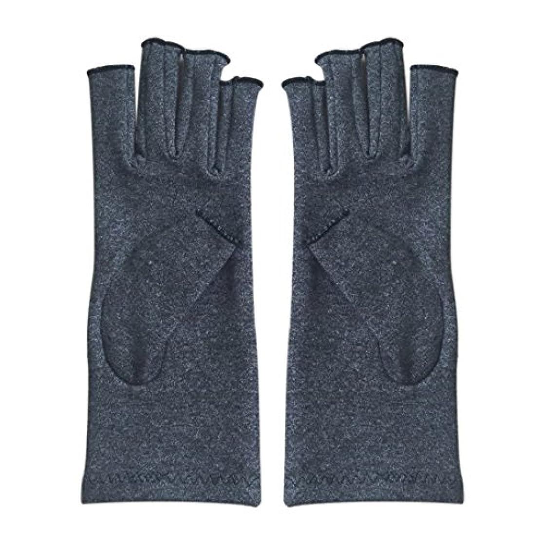 サーキットに行く確認用語集ACAMPTAR 1ペア成人男性女性用弾性コットンコンプレッション手袋手関節炎関節痛鎮痛軽減M - 灰色、M