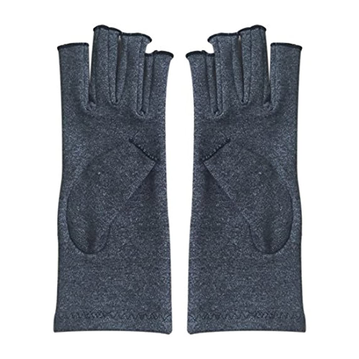 テロリスト消毒する塊SODIAL 1ペア成人男性女性用弾性コットンコンプレッション手袋手関節炎関節痛鎮痛軽減S -灰色、S