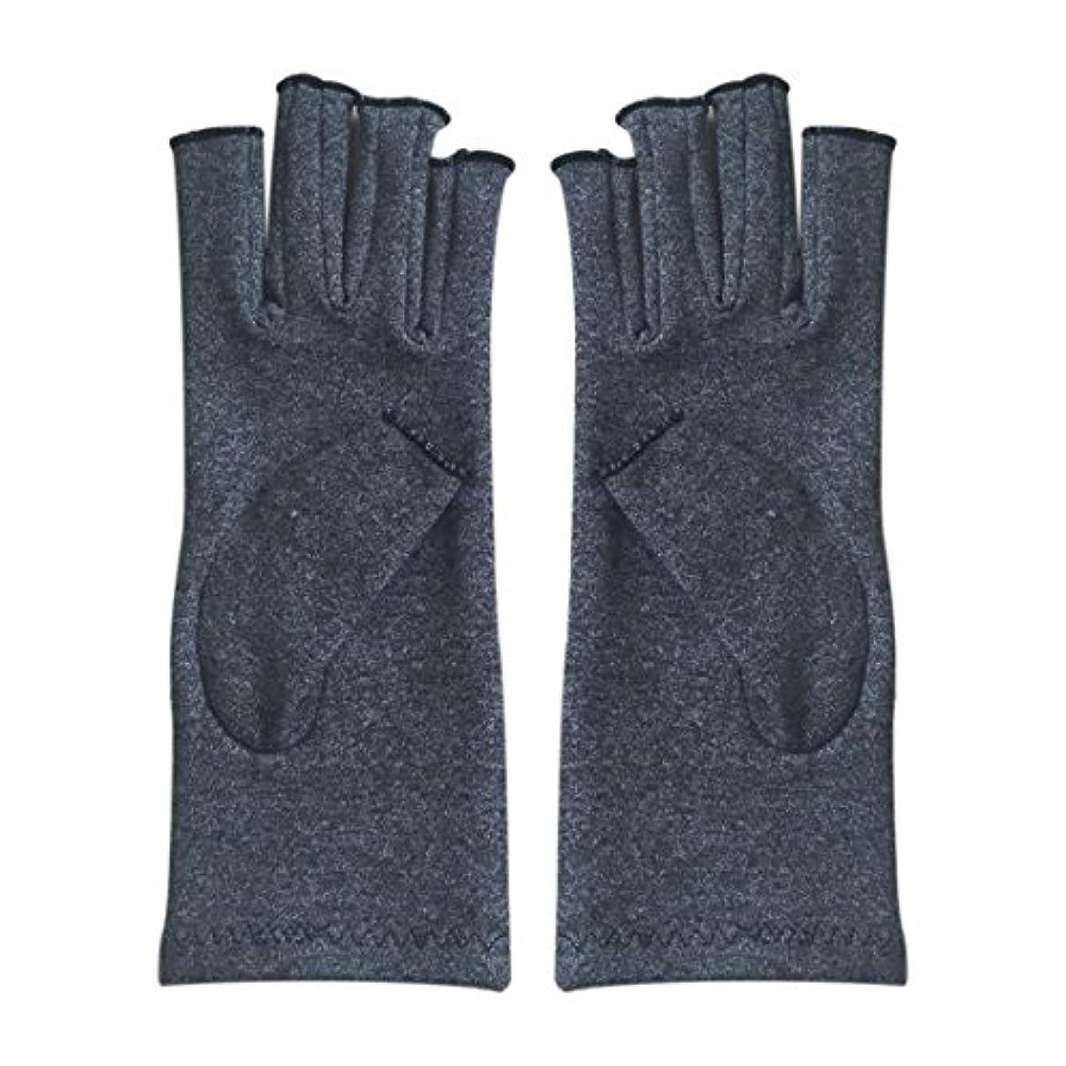 血短命導入するCUHAWUDBA 1ペア成人男性女性用弾性コットンコンプレッション手袋手関節炎関節痛鎮痛軽減M - 灰色、M