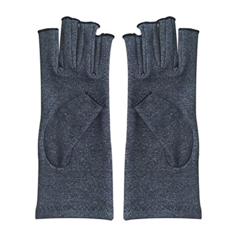 ACAMPTAR 1ペア成人男性女性用弾性コットンコンプレッション手袋手関節炎関節痛鎮痛軽減M - 灰色、M