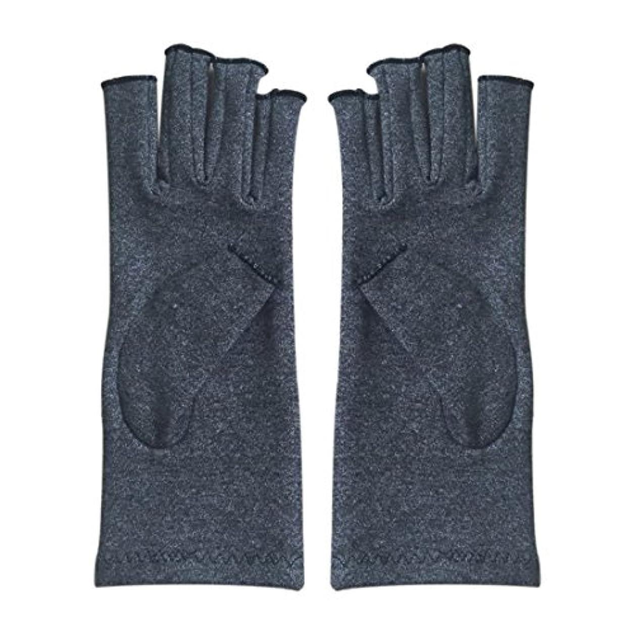 国民誤解するそうでなければACAMPTAR 1ペア成人男性女性用弾性コットンコンプレッション手袋手関節炎関節痛鎮痛軽減M - 灰色、M