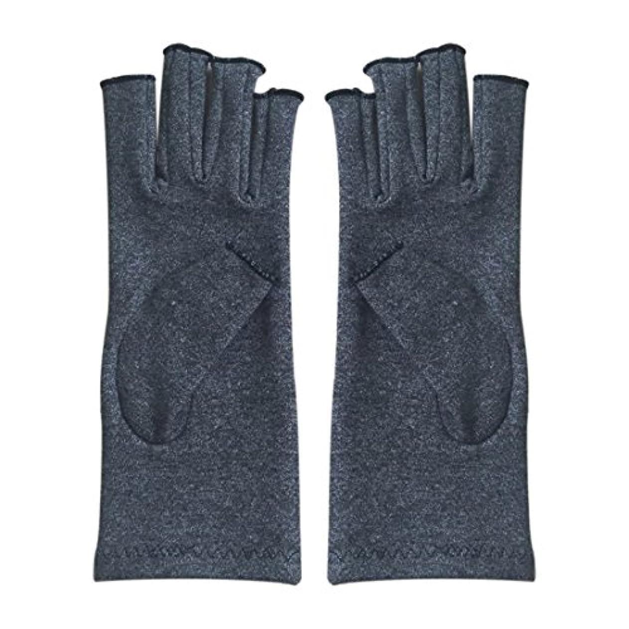振りかける手がかりりGaoominy 1ペア成人男性女性用弾性コットンコンプレッション手袋手関節炎関節痛鎮痛軽減M - 灰色、M
