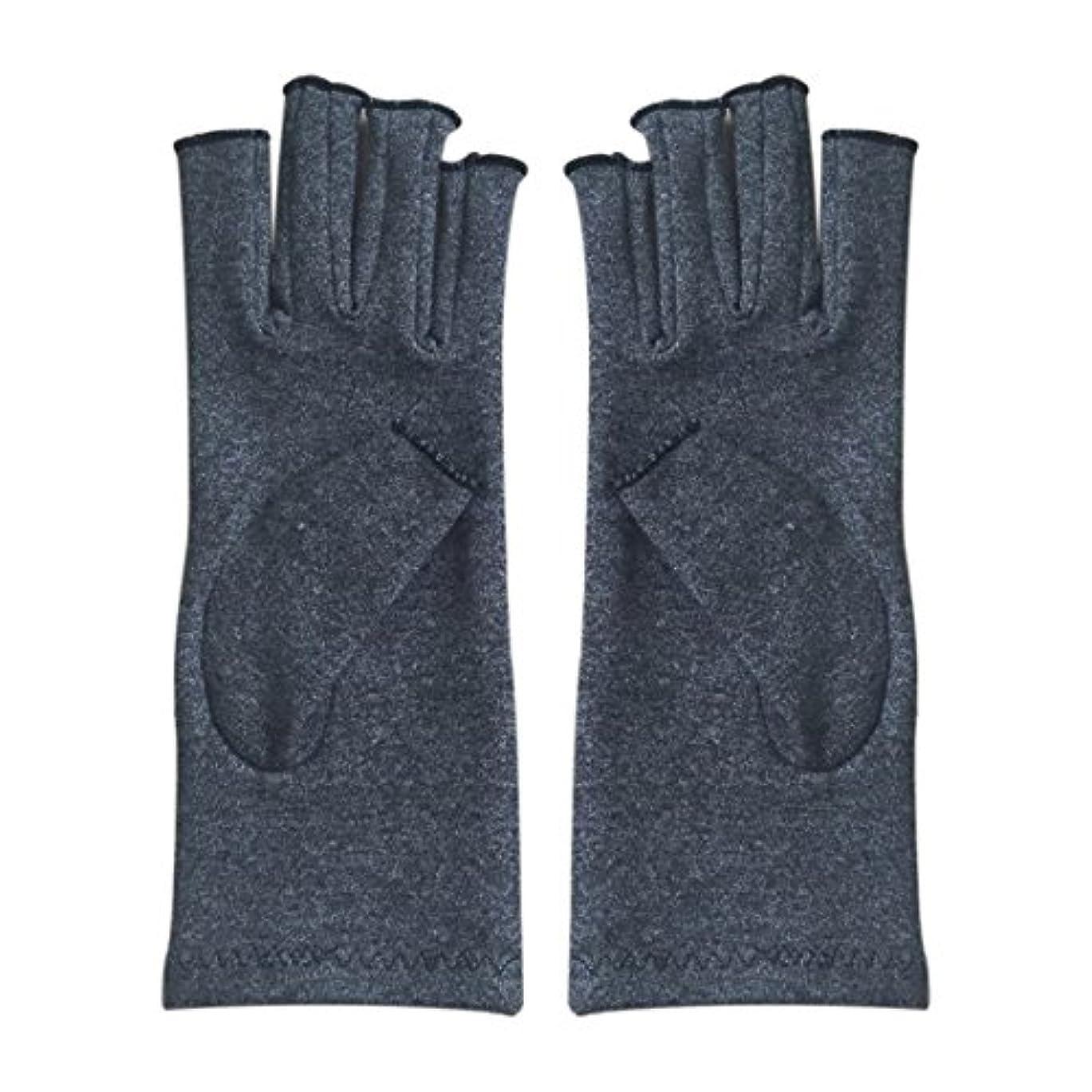 省略不正キャンバスGaoominy 1ペア成人男性女性用弾性コットンコンプレッション手袋手関節炎関節痛鎮痛軽減M - 灰色、M