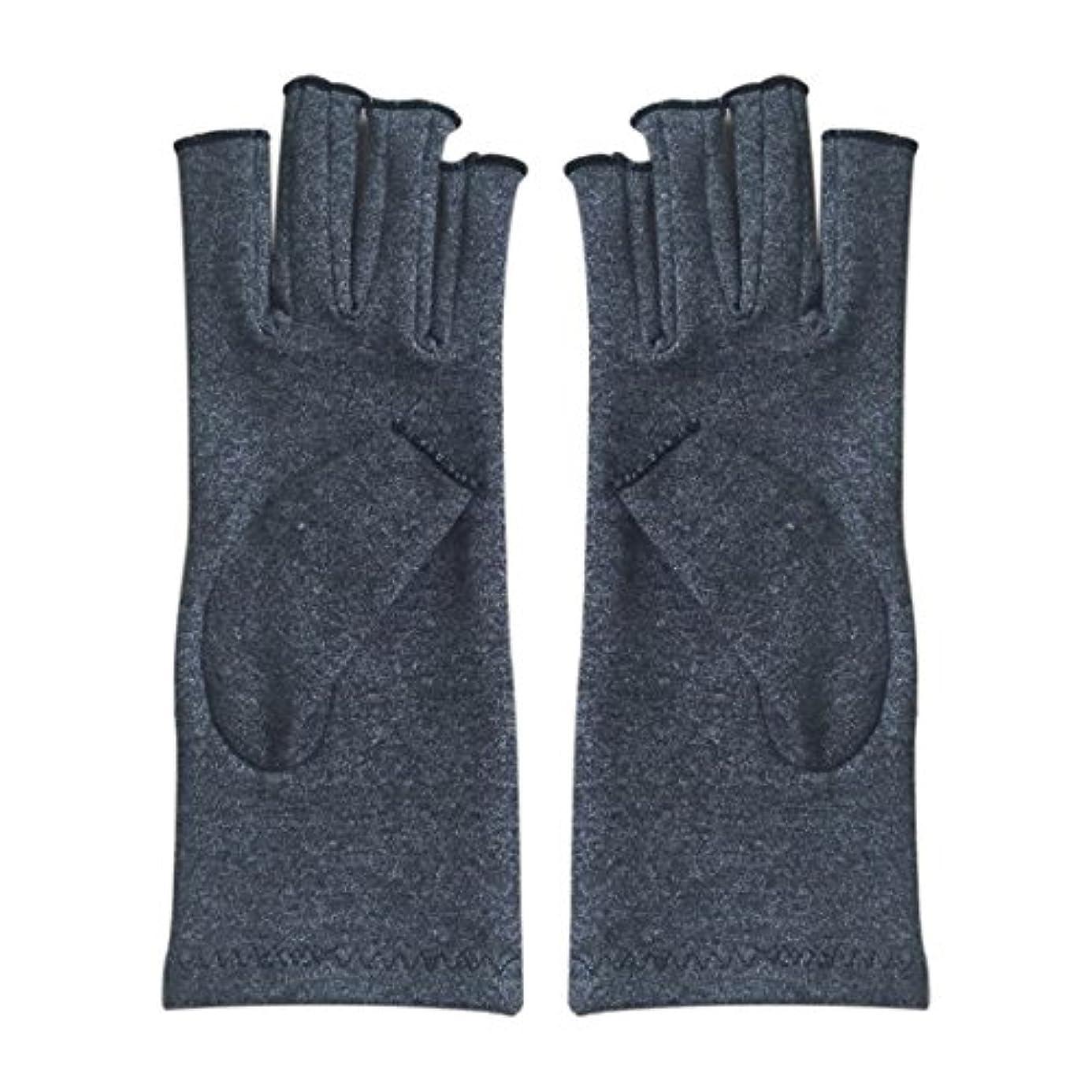 悲しいことに規定探すACAMPTAR 1ペア成人男性女性用弾性コットンコンプレッション手袋手関節炎関節痛鎮痛軽減M - 灰色、M