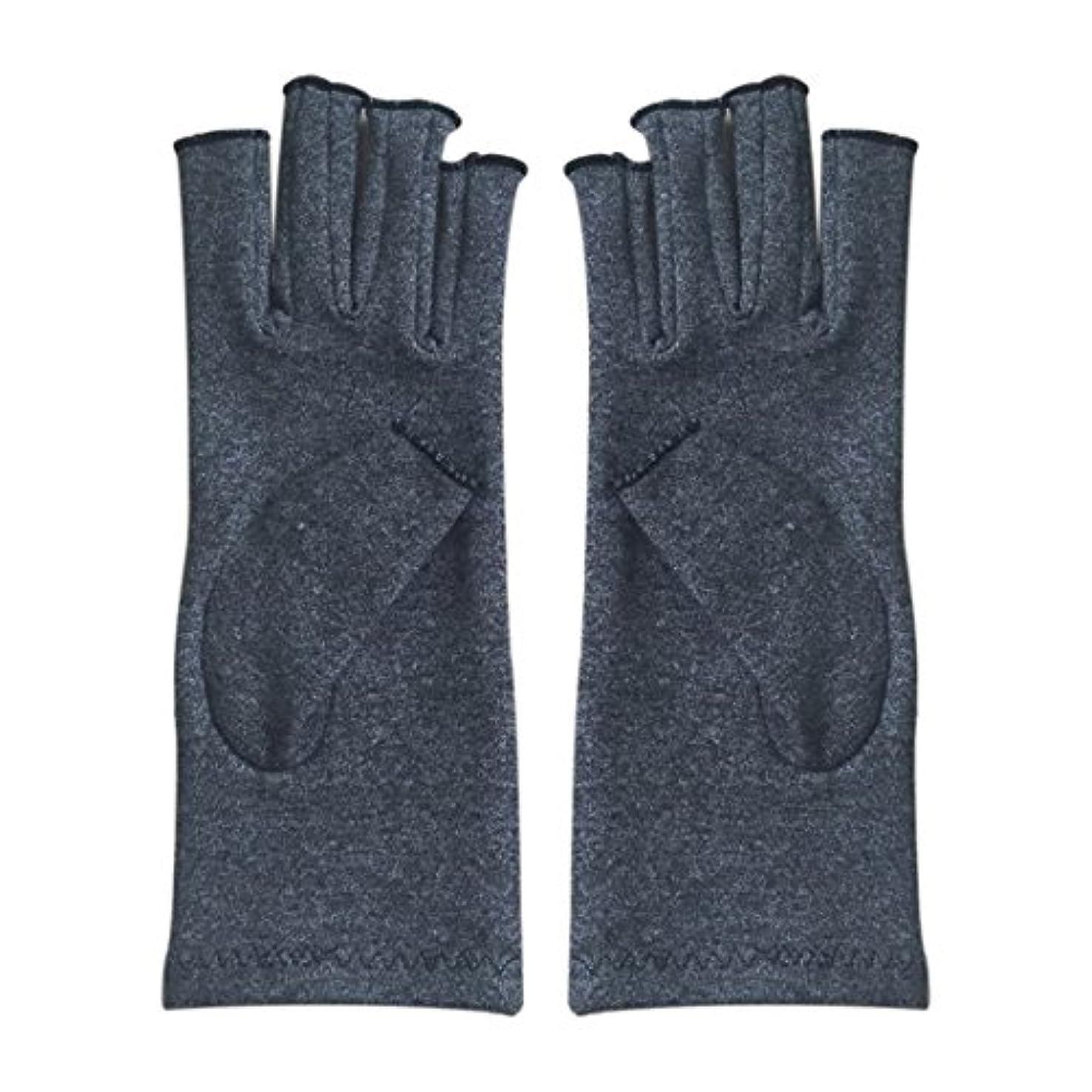 二次息切れ背骨ACAMPTAR 1ペア成人男性女性用弾性コットンコンプレッション手袋手関節炎関節痛鎮痛軽減M - 灰色、M