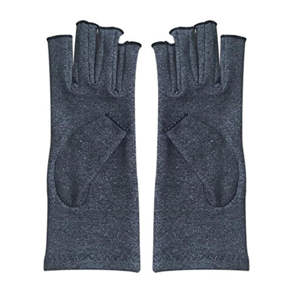 流体敵未払いACAMPTAR 1ペア成人男性女性用弾性コットンコンプレッション手袋手関節炎関節痛鎮痛軽減M - 灰色、M