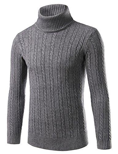 メンズ ニット セーター タートルネック ケーブル編み ニットセーター 秋 冬Glestore(グラストア)S-XL (タイプ2灰色, M)