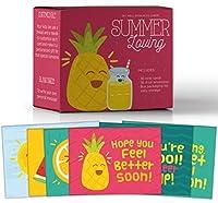 Summer Loving、アソートカラーGet Well Soon裁縫ノートカードfor Kids , Make Your Own Funグリーティングカード、6カスタマイズ可能なデザイン、36のパック空白on the inside、バルクボックスセット、36封筒、6.5X 5.5in。