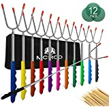 M MCIRCO Marshmallow Roasting Sticks,Set of 12 Pack 45¡° Telescoping Smores Skewers Hot Dog Extending Stainless Steel Forks for Camping, Campfire, Bonfire Kids, Multicolor,Include 20 Bamboo Skewers