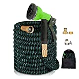 "AnyTop Flexible Expandable Garden Hose & 8 Function Spray Nozzle with 3/4"" Universal Solid Brass Fittings & Double Latex Core, Rot, Crack, Leak Resistant, Lightweight Water Hose (25-50 FT) (Green)"