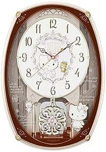 ハローキティ 掛け時計 電波時計 からくり時計 ピンクメタリック リズム時計 M540 4MN540MB13