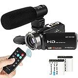 ビデオカメラ ACTITOP ポータブルビデオカメラ 2400万画素 HD1080P 16倍デジタルズーム リモコン付属 外部マイク 3インチ液晶おモニター 270度回転スクリーン SDカード(最大32GB) 日本語システム (2400万画素「リモコン付き」)