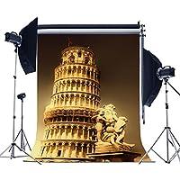 laeacco 3x 5ftビニール写真バックドロップ1* 1.5Mピサの斜塔イタリアシーン写真背景スタジオ小道具
